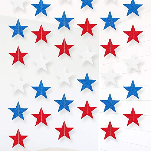 Moon Boat 8Ct Patriotic Star Party Decorations - Fourth/4th of July Supplies - Garland Streamers String Curtain