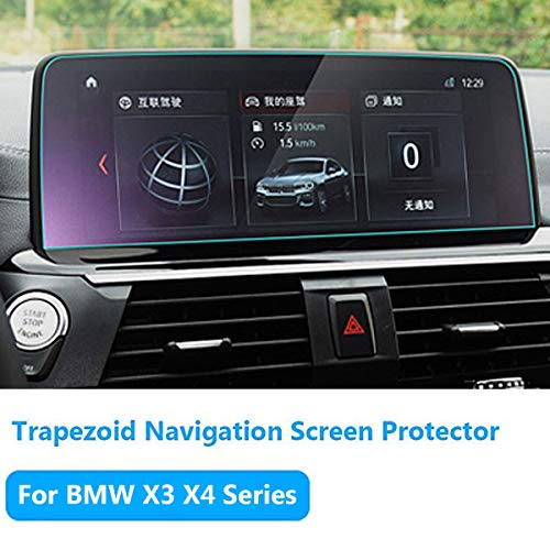 TTCR-II for BMW X3 Navigation Display Screen Protector Foil [2018-2019], Anti-Explosion Touch Screen Protector [0.3mm, 9H Hardness], Tempered Glass Console GPS Screen Protector [10.2'' Trapezoid] ()