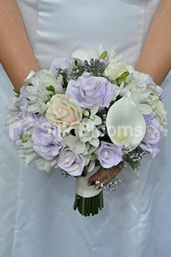 Bouquet Sposa Lisianthus.Amazon Com Gorgeous Artificial Fresh Touch Lilac And Pink
