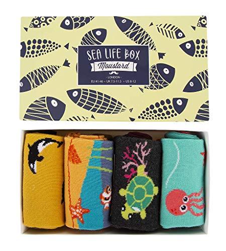 (4 Pack) Fun Ocean Beach Socks Pack for Men and Women - Crazy Funky Novelty Summer Sea Crew Socks - Premium Cotton