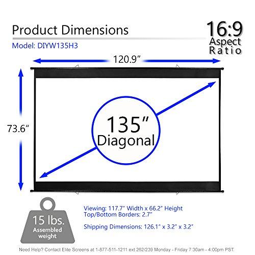 "Elite 3, Portable screen 16:9, 8K 4K HD 3D Cinema 135"" Projection Roll-Up"