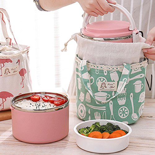 Oyachic Thermal Lunch Bag Insulated Tote Leakproof Drawstring Bag with Foil Liner for Office, School and Picnic (Whale white) by Oyachic (Image #1)