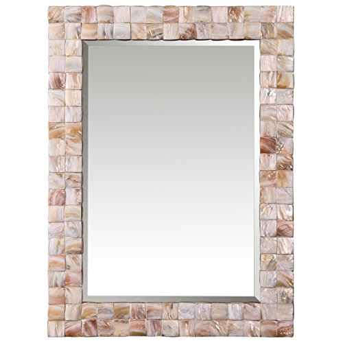 Coral Rectangular Mirror - Kathy Kuo Home June Coastal Beach Pink Mother of Pearl Framed Mirror