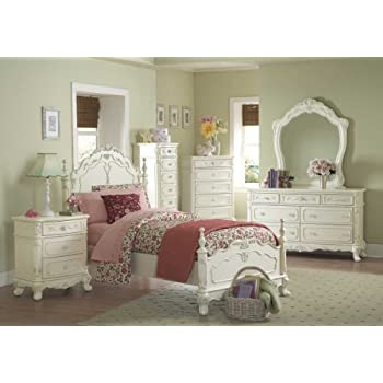 Cinderella 4 PC Full Bedroom Set by Home Elegance in Off-White/Cream