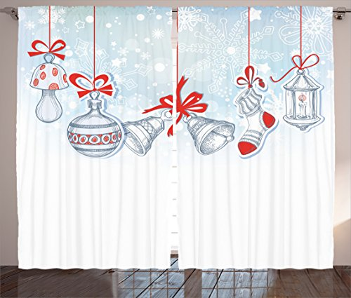 """Ambesonne Christmas Curtains, Retro Style Famous Socks for Toy and Candy Bells and Snowflake Graphic, Living Room Bedroom Window Drapes 2 Panel Set, 108"""" X 90"""", White Orange"""