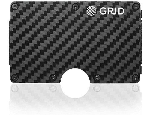 Grid Wallet - Carbon Fiber Wallet - Credit Card Holder with RFID Protection - Holds 12 Cards (Card Grid Holder)