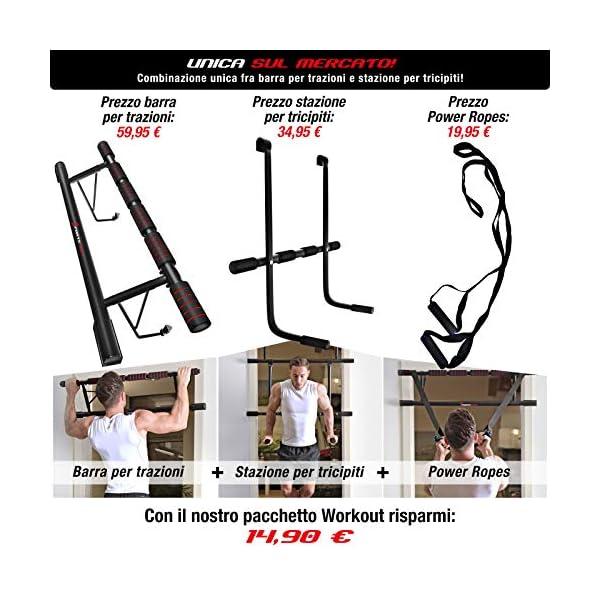 Sportstech Occasione Unica! Barra trazioni 4in1 Inclusive Dip Bar & Power Ropes, Sbarra per Porta Pieghevole KS500… 4 spesavip