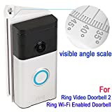 Adjustable 30 to 55 degree Angle Mount (with degree scale) for Ring Video Doorbell 2 and Ring Wi-Fi Enabled Video Doorbell, Kimilar Angle Adjustment Adapter Mounting Plate Bracket Wedge Kit, White
