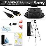 Essential Accessory Kit For Sony HDR-XR150 HDR-XR550V HDR-CX300 HDR-CX110 HDR-CX550V HDR-CX350V HDR-XR350V HDR-CX12 HDR-SR11 HDR-CX150 HDR-XR100 HDR-HC9 Camcorder Includes 50'' Tripod + Deluxe Case + Mini HDMI Cable + Cleaning Kit + Screen Protectors +More