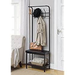 Black Metal and Bonded Leather Entryway Shoe Bench with Coat Rack Hall Tree Storage Organizer 8 Hooks