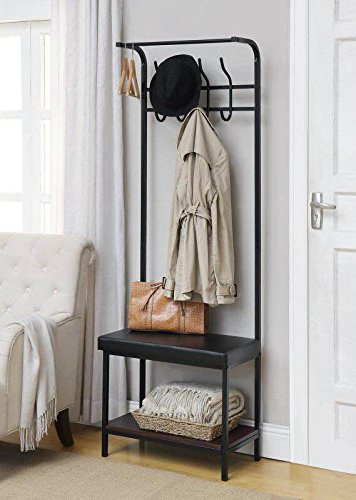 Amazon Black Metal And Bonded Leather Entryway Shoe Bench With Enchanting Coat Racks With Benches