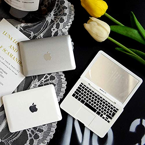 Homyu MacBook Air Style Makeup Mirror Mini Laptop Cute Pocket Size Mirror Portable Compact for Makeup Travel (Silver)
