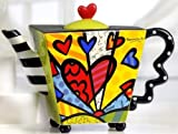 Romero Britto Teapot Square Heart Ceramic Dolomite Tea Pot Infuser Cup Decor New