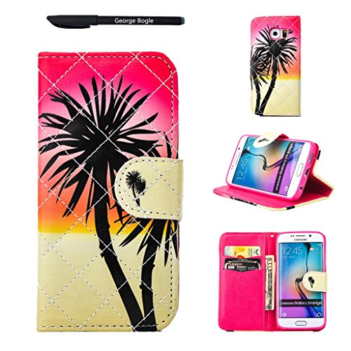 Case for Samsung Galaxy S6edge,Wallet Bag Cover with Stand,Magnet Closure ID Card Slots Folio Smasung s6 Edge Cover Money Pocket,Free Ball-point Pen (Coconut - Point Coconut