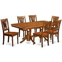 East West Furniture NAPL7-SBR-W 7-Piece Dining Table Set