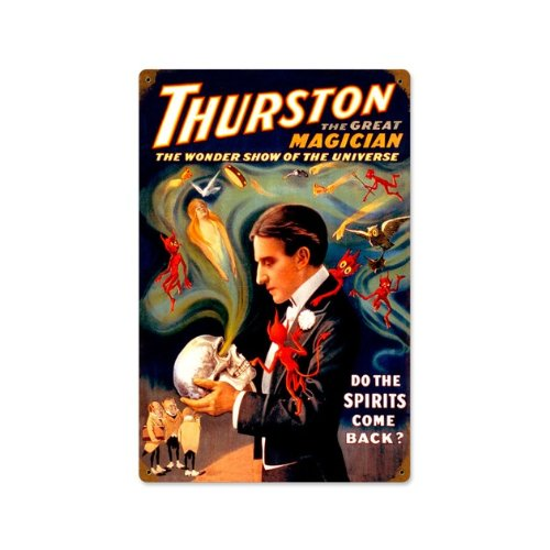 Thurston Spirits Come Back Vintage Metal Sign Magic Magician 12X18 Steel Not Tin (Thurston Hanging)