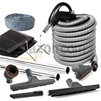 Plastiflex Central Vacuum Deluxe Hardwood, Bare Floor and Carpet Kit with 35ft Hose and Accessories Rug