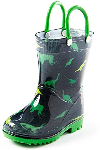 Puddle Play Toddler and Kids Rain Boots With Easy On Handles – Little Kid Size 13 - Boys Green and Black Dinosaur Design – - Size Kid Little