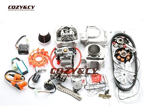 scooter 200cc EGR Big Bore Kit & 63mm Cylinder Head & A14 CAM & 42mm air filter & 824 belt for ATV 150cc GY6 157QMJ MOTOR