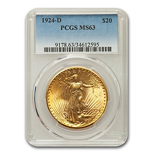 1924 D $20 Saint-Gaudens Gold Double Eagle?MS-63 PCGS G$20 MS-63 PCGS