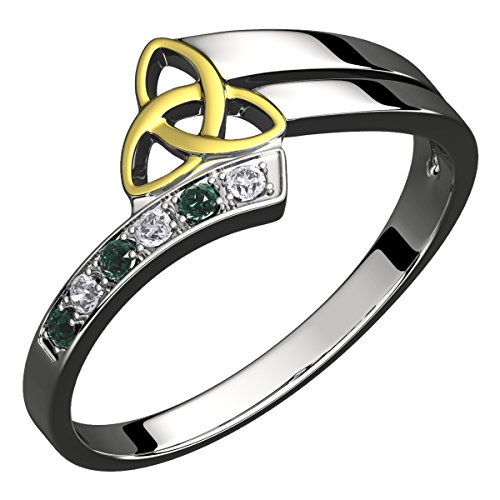 - GWG Sterling Silver Ring for Women with 18K Gold Plated Celtic Triquetra Trinity Knot Embellished with Emerald Green CZ Stones - 5