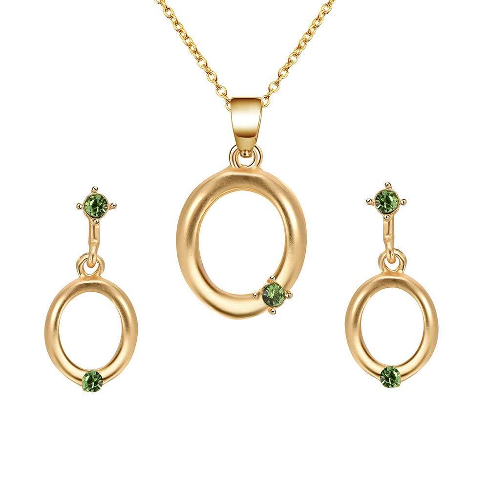 yingyue Fashion Charming Women Hollow Oval Egg Shape Faux Rhinestone Inlaid Earrings Eardrop Necklace Set Party Wedding Jewelry Gift Golden