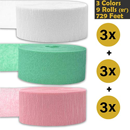 (Crepe Party Streamers, 9 rolls, 3 Colors, 739 ft - White + Seafoam Green + Classic Pink - 243' per color (3 rolls per color, 81 foot each roll) - For party Decorations and Crafts - Flame Resistant, Bleed Resistant, Made in USA )