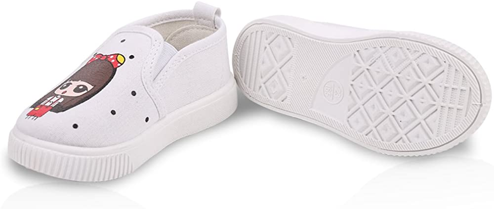 Robasiom Prewalker Baby Girls Sweet Canvas Sneaker Anti-Skid Soft Shoes Trainer Printed Childrens Shoes Loafers Shoes For Girls,White,Toddler 8 M