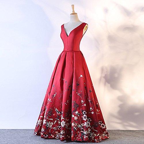 Floral De Scoop De Femmes Longues Robes De Bal Imprimé Une Robe De Soirée Formelle Sans Manches Ligne Bpm16 V-cou Rouge Foncé
