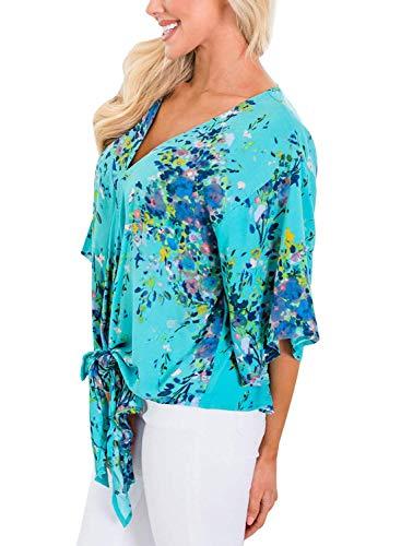 Mode Tops V Printemps Cou 3 Haut Fleur Femme Motif Loisir 4 Classique Fille Chemise Nou Bouffant Shirts Elgante Et Vintage 3 Manches Chemisiers qFEXwxvF