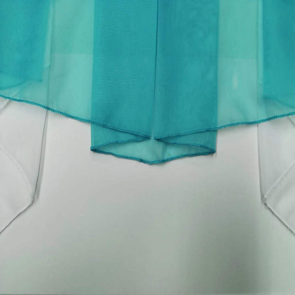 KMSG 1pc Pleated Irregular Stitching Transparent Tulle White Sheer Valances Swag Tier Ruffles Kitchen Curtain Small Window Door Curtain Voile Drape Short Curtain Panel for Living Dining Room Blue