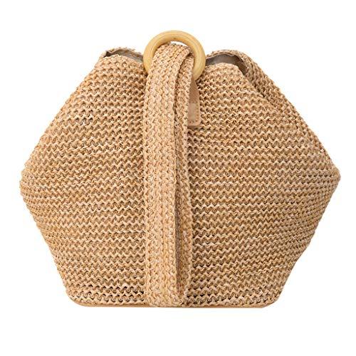 (Women's Woven Bucket Bag Straw Woven One-Shoulder Woven Handle Handbag Leather Adjustable Strap Multi-Functional Simple Elegant Summer Beach Ladies Braided Crossbody Bag (Khaki) )