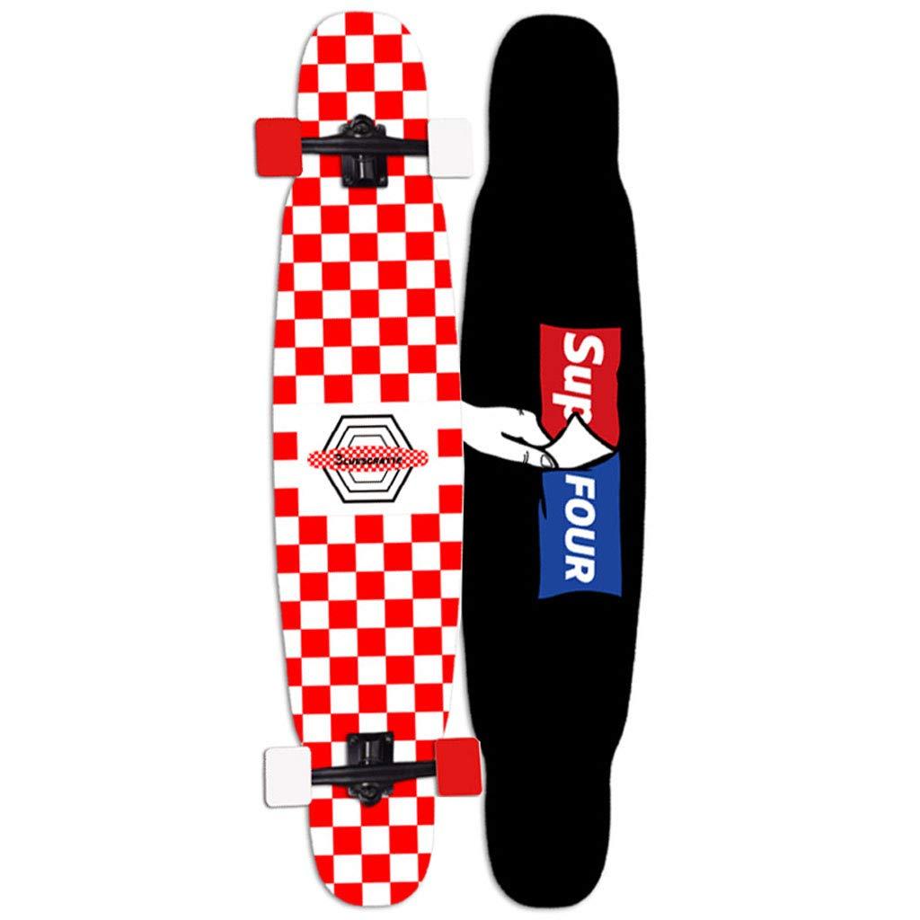 友人の贈り物 ロングボードスケートボード46インチコンプリートドロップスルーデッキクルーザープロロングボード7層メープル(ドロップスルーデッキ - キャンバー凹面) スケートボード B