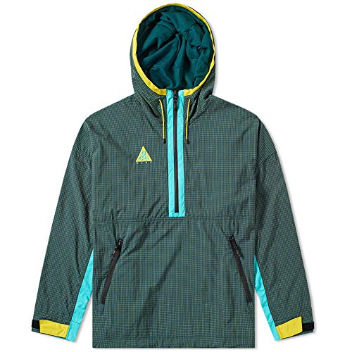 - Nike ACG Mens Woven Hooded Jacket Dark Atomic Teal/Hyper Jade/Vivid Sulfur Size XL
