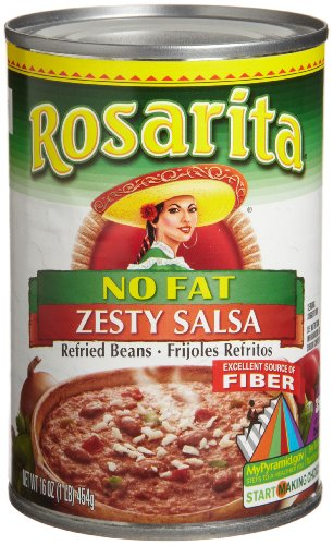 Rosarita  Zesty Salsa Refried Beans, No Fat, 16-ounce Cans (Pack of 24) by Rosarita