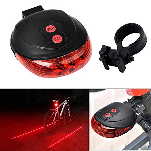 Bike Rear Light 2 Laser Bicycle Safety Taillight 5 LED Warning Flashing Cycling Alarm Backlight Waterproof for Seat Post Tube 20-36mm Bicycles ,Trikes and Scooters (Red) (Safety Laser Light)