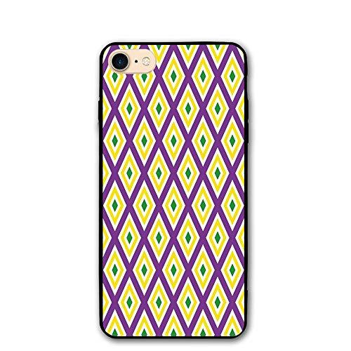 Haixia iPhone 7/8 Shell 4.7 Inch Mardi Gras Classical Diamond Line Rhombus Pattern in Traditional Carnival Colors Decorative Purple Yellow Green