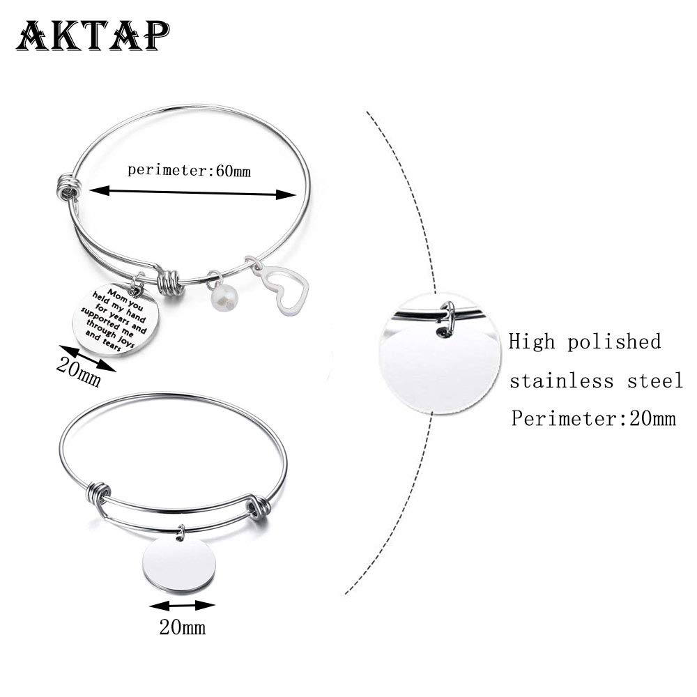 AKTAP Mother Gift Bangle Gifts for Mom from Daughter Or Son Mom You Held My Hand for Years and Supported Me Through Joys and Tears