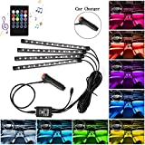 Interior Car Lights, 4 Pack 48 Car LED Lights, MultiColor Music Car Lights Interior LED Under dash Lighting Kit with Sound Active Function and Remote Control, Car Charger Included, DC 12V: more info