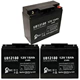 3x Pack - APC SMART-UPS 3000 SU3000INET Battery - Replacement UB12180 Universal Sealed Lead Acid Battery (12V, 18Ah, 18000mAh, T4 Terminal, AGM, SLA)