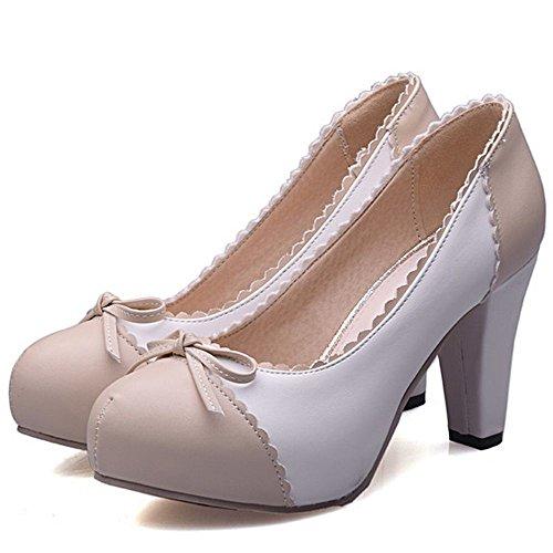 Pumps Ladies Beige Women High Heel Block Heel Shoes COOLCEPT Sweet High Classic Platform Dress IZUCB