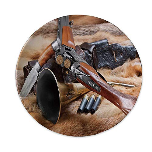 Hitecera Hunting Decor Art Plate,Hunting Materials on Fur Rifle Ammunition Cartridge Knife Sheath Decorative for Home,6 inch (Plate Fur Code Item)