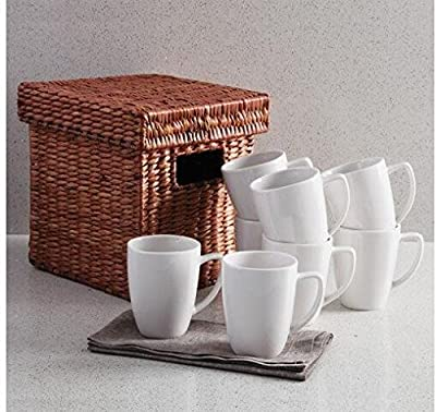 Maredash Porcelain Mugs - 10 Ounce for Coffee, Tea, Coca,Juice, Set of 8, White Ceramic Cups For Cold & Hot Drinks
