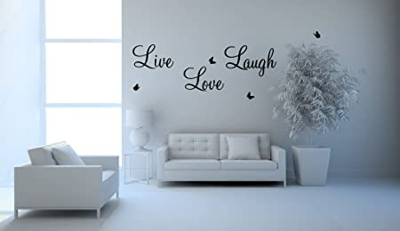 Live Laugh Love Wall Art Sticker Quote Vinyl Wall Decor Wall Decal (LARGE,  BLACK