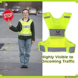 Reflective Vest for Running or Cycling (Women and Men, with Pocket, Gear for Jogging, Biking, Motorcycle, Walking)(Medium)