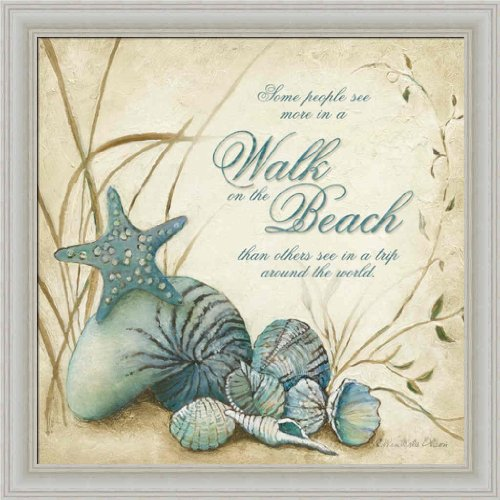 Walk on The Beach by Charlene Olson Seashell Sign 14x14 Framed Art Print Picture Wall Decor