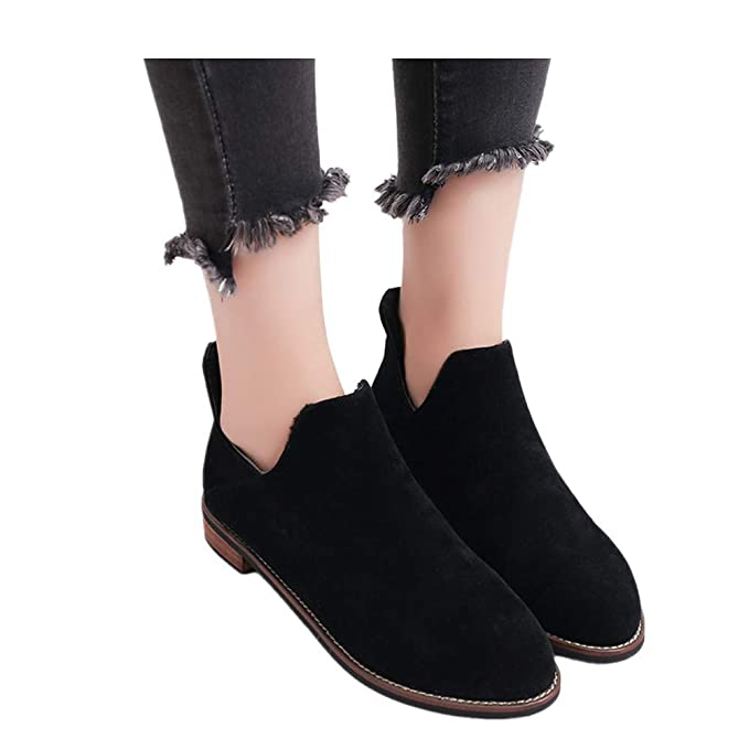 5144e23014cb9 Womens Autumn Winter Low Heel Flat Block Ankle Boots Ladies Comfortable  Work Shorty Shoes