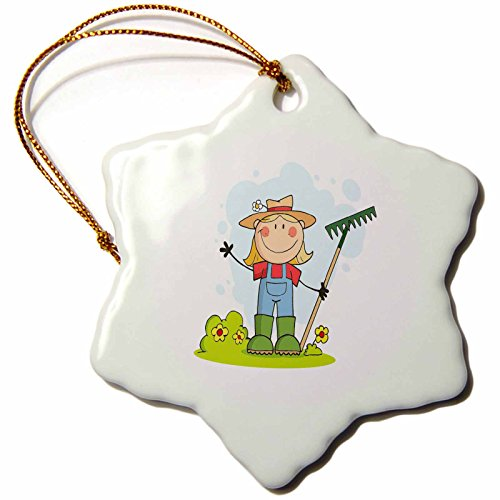 (3dRose ORN_118628_1 Cute Stick Figure Girl Gardener Farmer-Snowflake Ornament, Porcelain, 3-Inch)