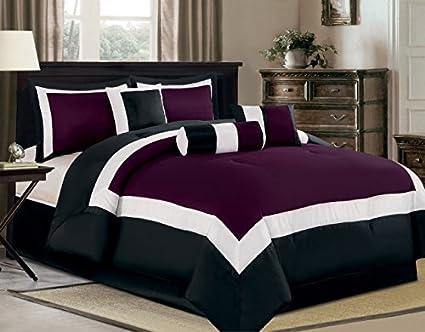 bedding Purple black and white