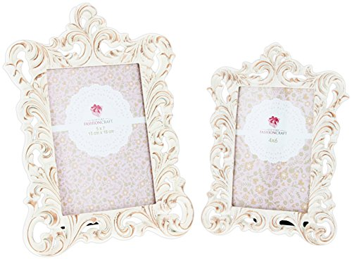 """Set of 2 Assorted Fashioncraft Vintage Style Ivory & Rose Gold Resin Frames - Holds 5""""x7"""" and 4""""x6"""" Photos"""